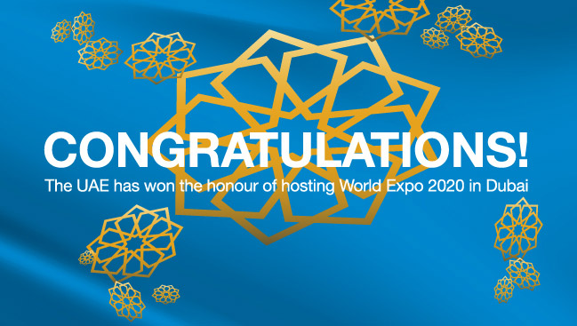 Congratulations to Dubai on winning the World Expo 2020 bid
